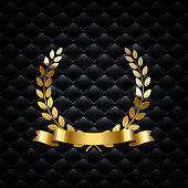 Golden laurel wreath with golden ribbon on black luxury background. Vector luxury design element.