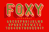 Condensed display font popart design, alphabet, letters and numbers.