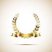 Golden laurel wreath with golden ribbon. Vector luxury design element.