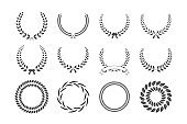 Set of gray laurel wreaths isolated on white background. Vector design elements.