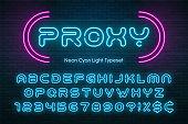 Neon light alphabet, futuristic extra glowing font