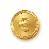 Golden coin with Euro symbol isolated on white background. Vector finance icon.