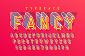 Condensed 3d display font popart design, alphabet