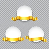 Round badge or banner decorated with golden ribbon set. Vector promotion design elements.