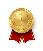 Gold medal with red ribbons isolated on white background. Vector design element.