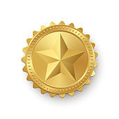 Gold medallion with star isolated on white background. Vector design element.