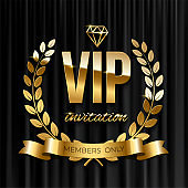 Golden ribbon with laurel wreath and VIP invitation text on black curtain background. Vector VIP invitation design template.