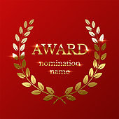 Golden award sign with laurel wreath isolated on red background. Vector illustration.