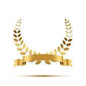 Golden laurel wreath with ribbon. Vector luxury design element.
