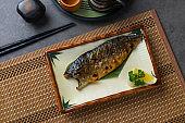 Saba fish grilled japanese food flat lay