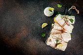 Stack tortilla wraps sandwiches