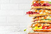 Various bagels sandwiches