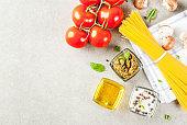 Food background, pasta spaghetti