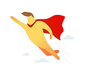 Vector illustration of yellow color super man with red cloak raised his arm up flying on sky background with cloud.