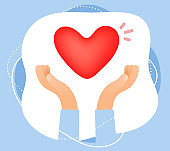Vector creative color illustration of human hand holding a red heart in frame. Symbol of love, health, peace.