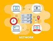 Social network concept on yellow background with title. Vector bright illustration of big data server is connected to laptops with clock icon.