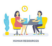 Vector color illustration of two woman are sitting at table on chair, plant and clock. Human resources concept.