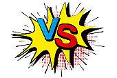 Pop art retro comic. Blue and red background. Versus lightning blast halftone dots. Cartoon vs. Vector Illustration