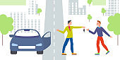 Car business sharing service concept, car rental illustration. Man gives car key to driver. Modern flat style design