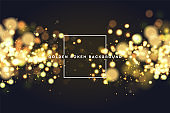 Golden bokeh sparkle glitter lights background. Abstract defocused circular Magic christmas background. Elegant, shiny, metallic gold background. EPS 10.