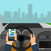 Man using smartphone while driving the car, traffic accident graphic design conceptual vector illustration