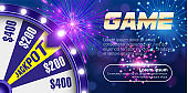 Vector fortune wheel, Online casino design concept. 3d object on abstract defocused circular blue bokeh background. Wheel of luck. Whill of fortune with game button.