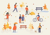 people in the autumn park, relaxing, walking the dog, riding bicycle, have fun, flat design style vector graphic