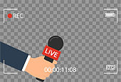 background with camera frame and record or rec vector isolated. focus TV in live news flat design. hand holding mic cartoon. Journalism and Microphone with journalist modern for sport in press conference.