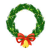 Christmas wreath and bow holly berry holiday decoration vector illustration.
