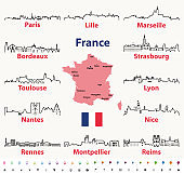 vector outlines icons of France cities skylines with map and flag of France