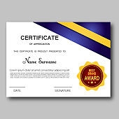 Certificate of appreciation template vector trendy geometric design award achievement elegant success diploma business design illustration.