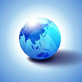 Far East China, Japan, Malaysia, Thailand and Indonesia, Background with Globe Icon 3D illustration