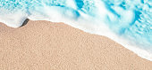 Soft Wave of Blue ocean in summer. Sandy Sea Beach  Background with copy space for text.'n