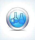 Pale Blue Button Glass Lab Jars, Healthcare & Pharmaceutical Icon, Symbol