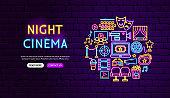 Cinema Neon Banner Design