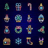 Merry Christmas Neon Icons