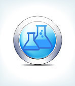 Pale Blue Button Beakers, Flasks, Healthcare & Pharmaceutical Icon, Symbol