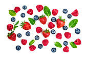 Fresh Berries mix isolated on white background. Various Berries set. Top view'n