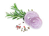 Red onion, rosemary herb and  spices isolated on white background, top view'n