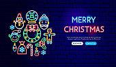 Merry Christmas Neon Banner Design