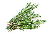 Isolated Rosemary herb. Fresh green rosemary bunch isolated on a white background. Top view. Flat lay'n