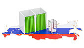 Russian election concept, ballot box and voting booths on the map, 3D rendering