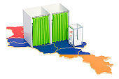 Armenian election concept, ballot box with voting booths on map of Armenia, 3D rendering