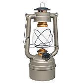 Antique Kerosene Lantern, 3D rendering isolated on white background