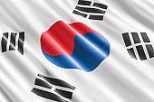South Korea flag background, 3D rendering