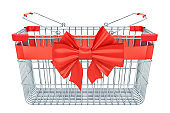 Empty shopping basket with red bow and ribbon. 3D rendering isolated on white background