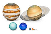 Planets of the solar system. Jupiter, Saturn, Uranus, Neptuno, Earth, Venus, Mars, Mercury. 3D rendering isolated on white background.