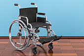 Wheelchair on the wooden floor in the room, 3D rendering