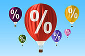 Sale and discount concept with hot air balloons. 3D rendering