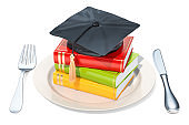 Plate with graduation cap and books. 3D rendering isolated on white background